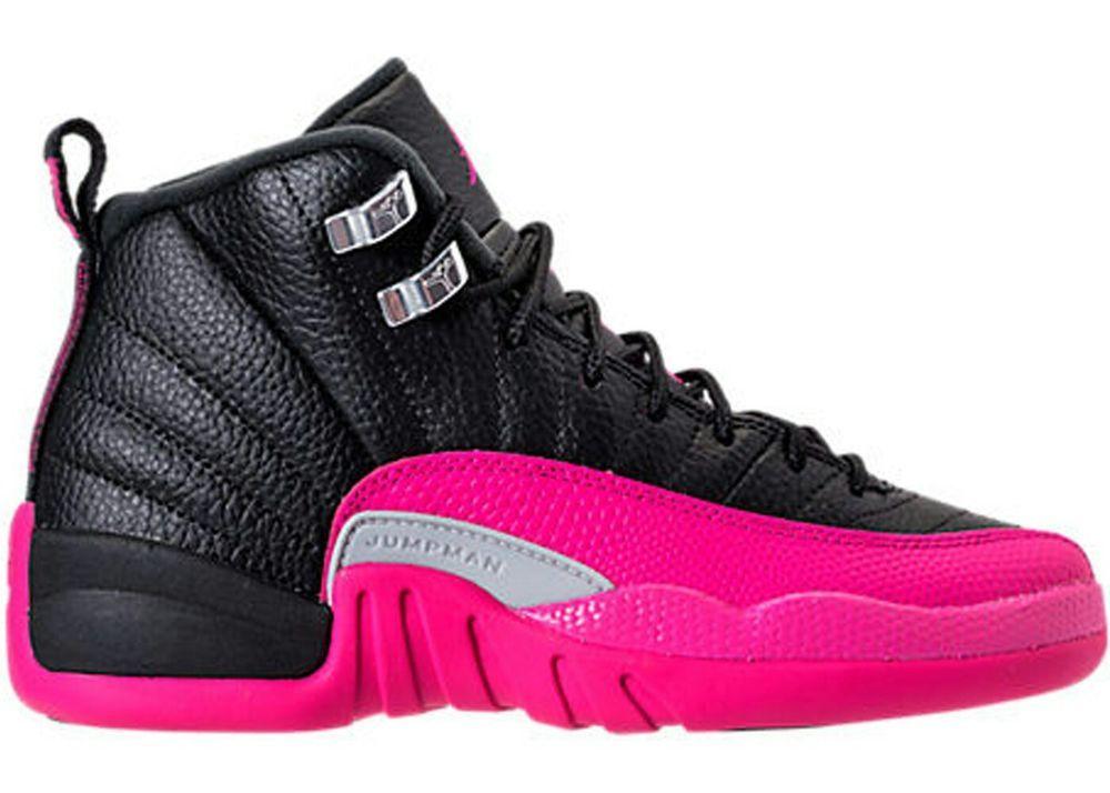 Womens Air Jordan Retro GG 12 XII Deadly Pink GS Black