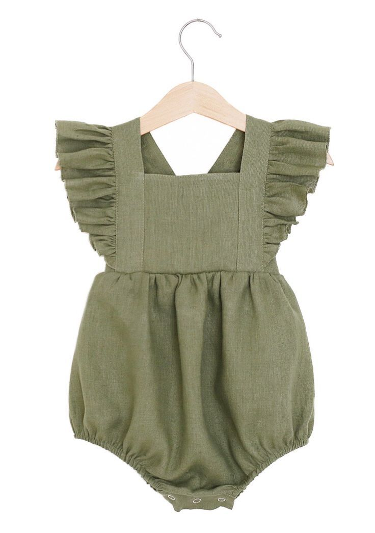 f2137ce98816 Handmade Olive Green Linen Vintage Style Baby Romper ...