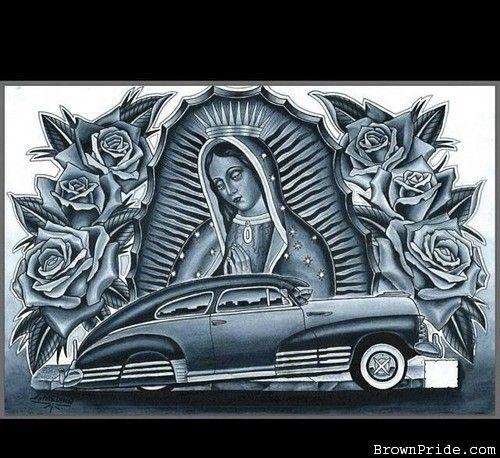 Custom lowrider arte la virgen la office mural in 2019 - Brown pride drawings ...