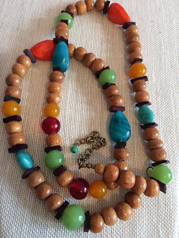 Wood/Plastic and Glass Funky Chunky Beaded Necklace