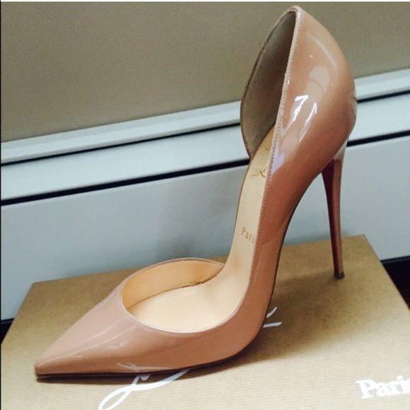 86fe763e5e5 Christian Louboutin IRIZA 120 patent leather nude Worn once ...