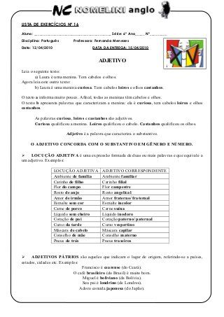 Adjetivos Colegio Anglo Lista De Exercicios Nº 16 Adjetivos