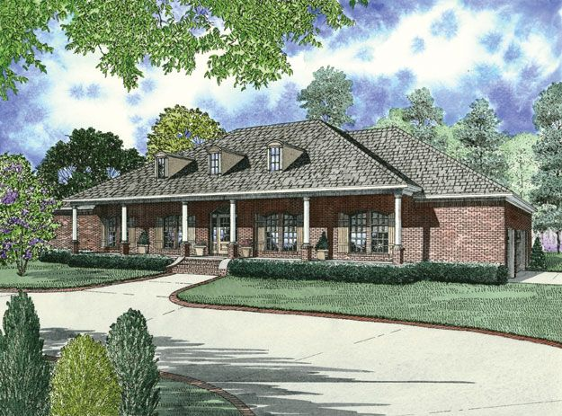 images about Country Home Plans on Pinterest   Bedroom    This one story country home hosts a long covered front porch  perfect for sitting