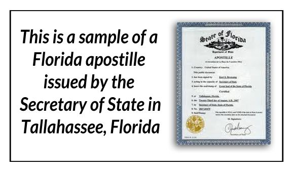 This is a Sample of a Florida apostille issued by the Secretary os - new secretary certificate sample