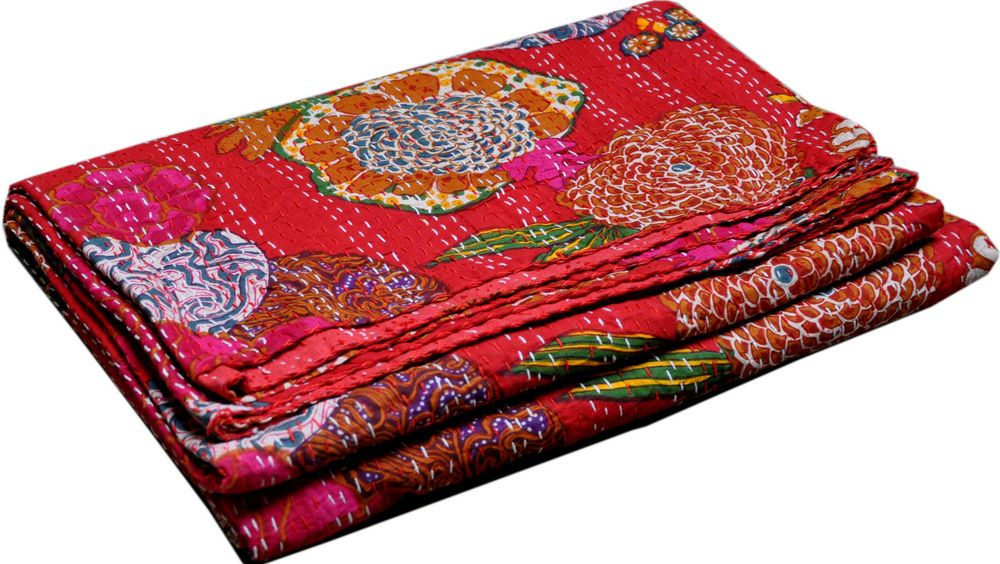 TWIN RED KANTHA/FLORAL QUILT~BEDSPREAD~TAPESTRY Handmade Reversible INDIA DECOR #Handmade #Traditional