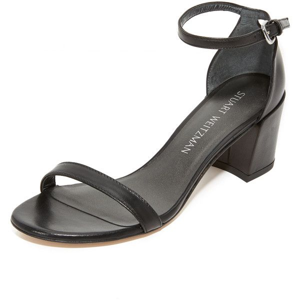 Stuart Weitzman Simple City Sandals ($425) ❤ liked on Polyvore featuring shoes, sandals, stuart weitzman, black shoes, kohl shoes, stuart weitzman shoes and black sandals
