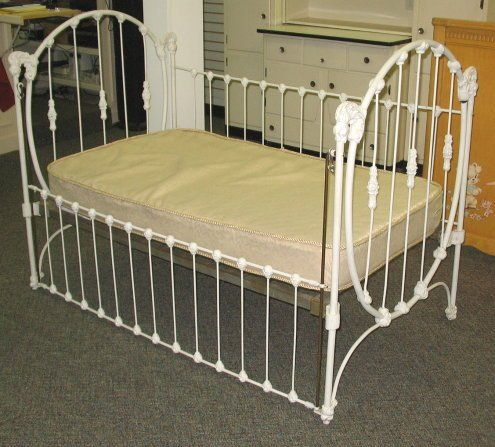 56: Antique Iron Baby Bed/Crib makes Great Day Bed on | Vintage
