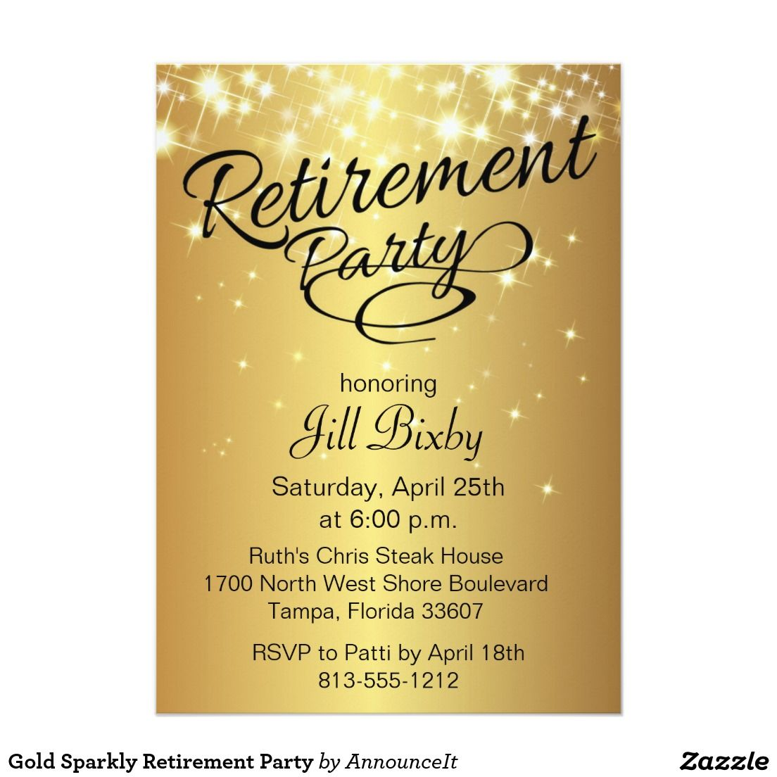 Gold sparkly retirement party invitation retirement parties gold sparkly retirement party 5x7 paper invitation card stopboris Choice Image