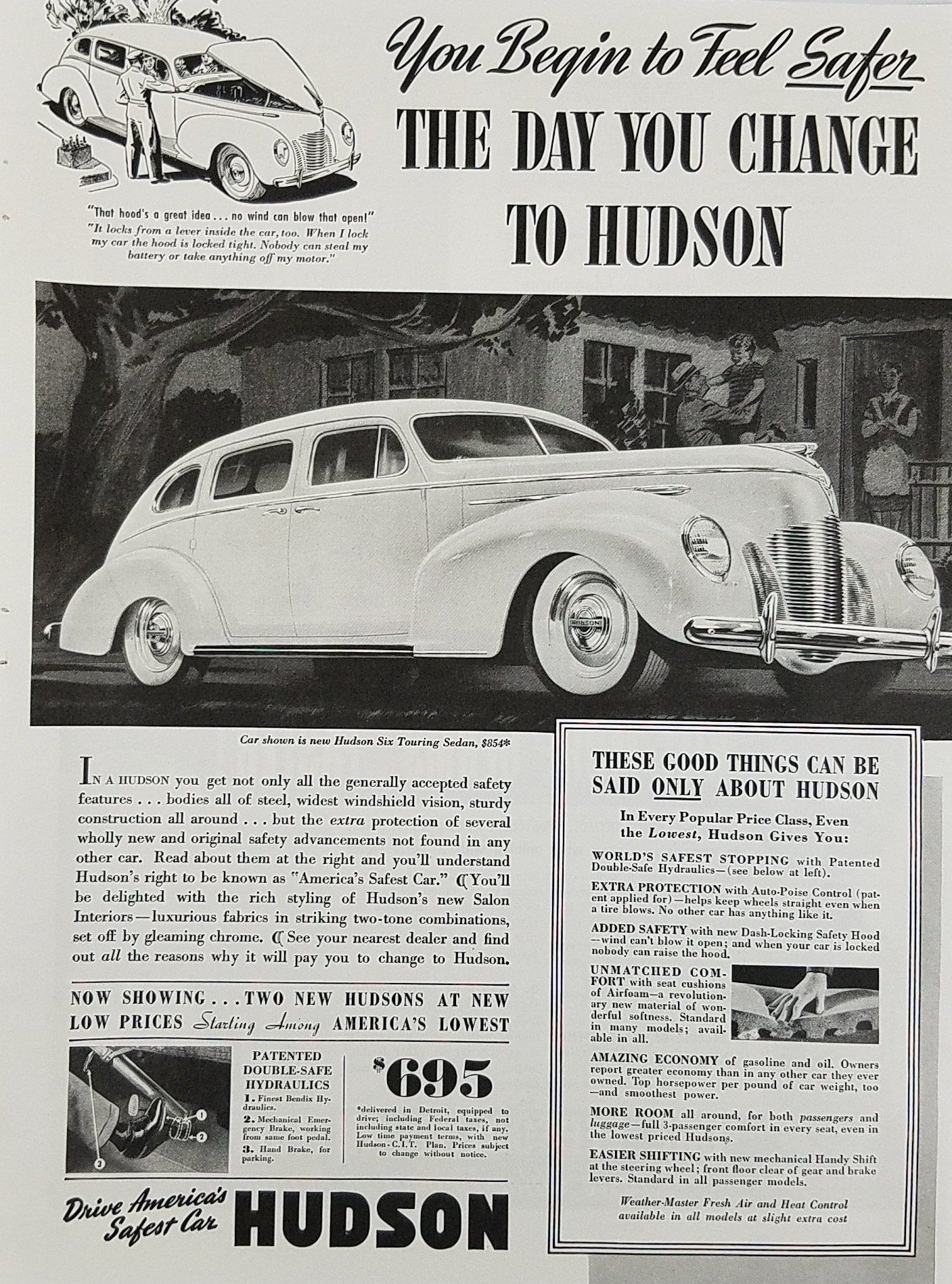 1939 Hudson Six Touring Sedan Vintage Car Ad - Feel Safer | Cars ...
