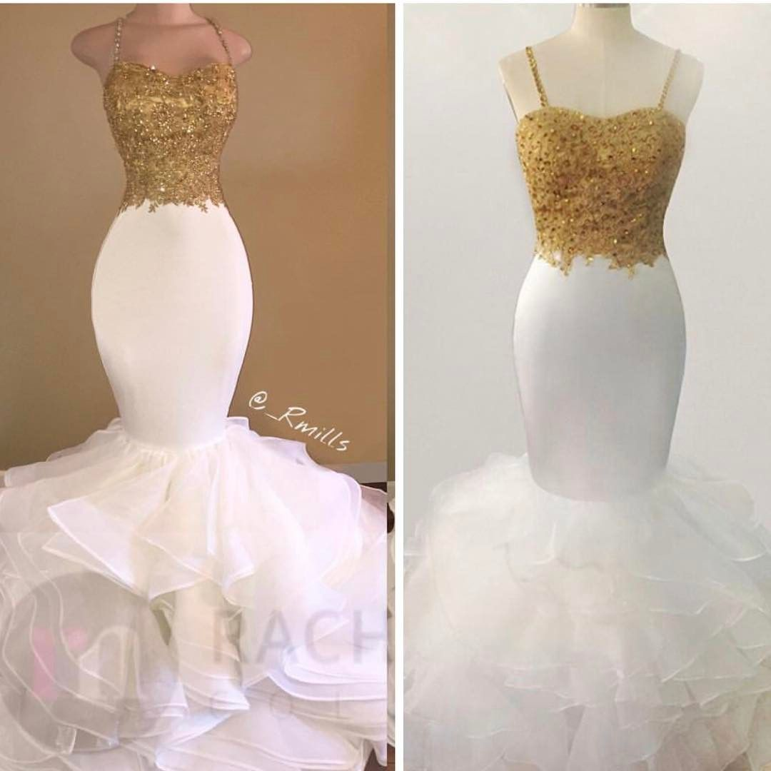 Gold african prom dresses mermaid sleeveless sweetheart evening