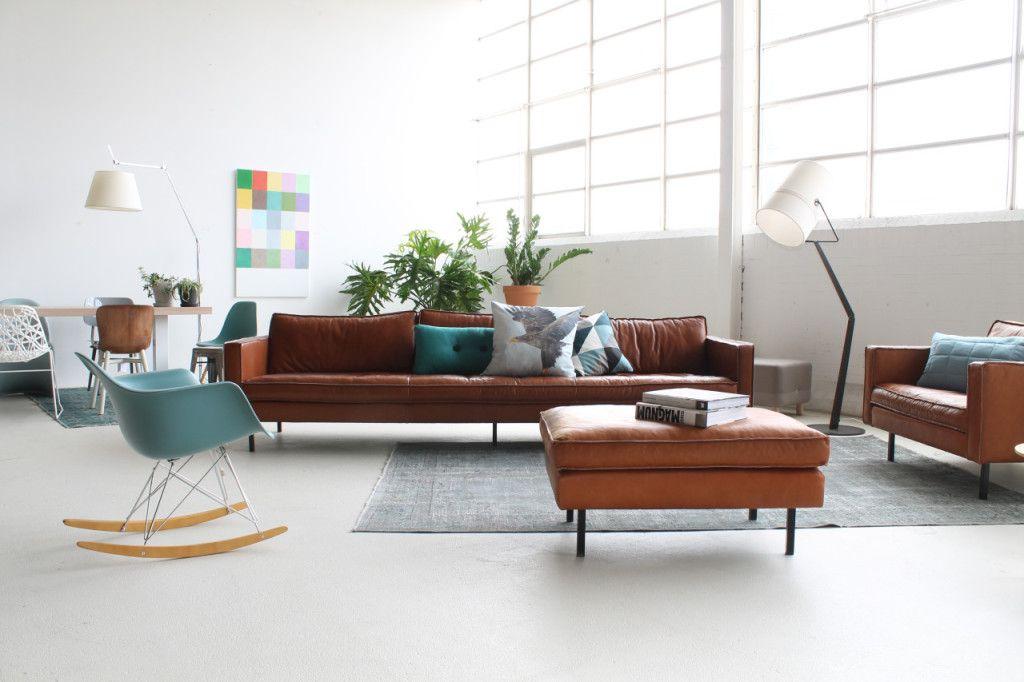 Cognac leren bank small loods woonkamer sofa