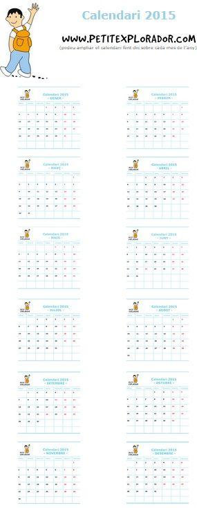 Calendario escolar de Catalunya 2014- 2015. Imprimir calendario escolar anual o mes a mes