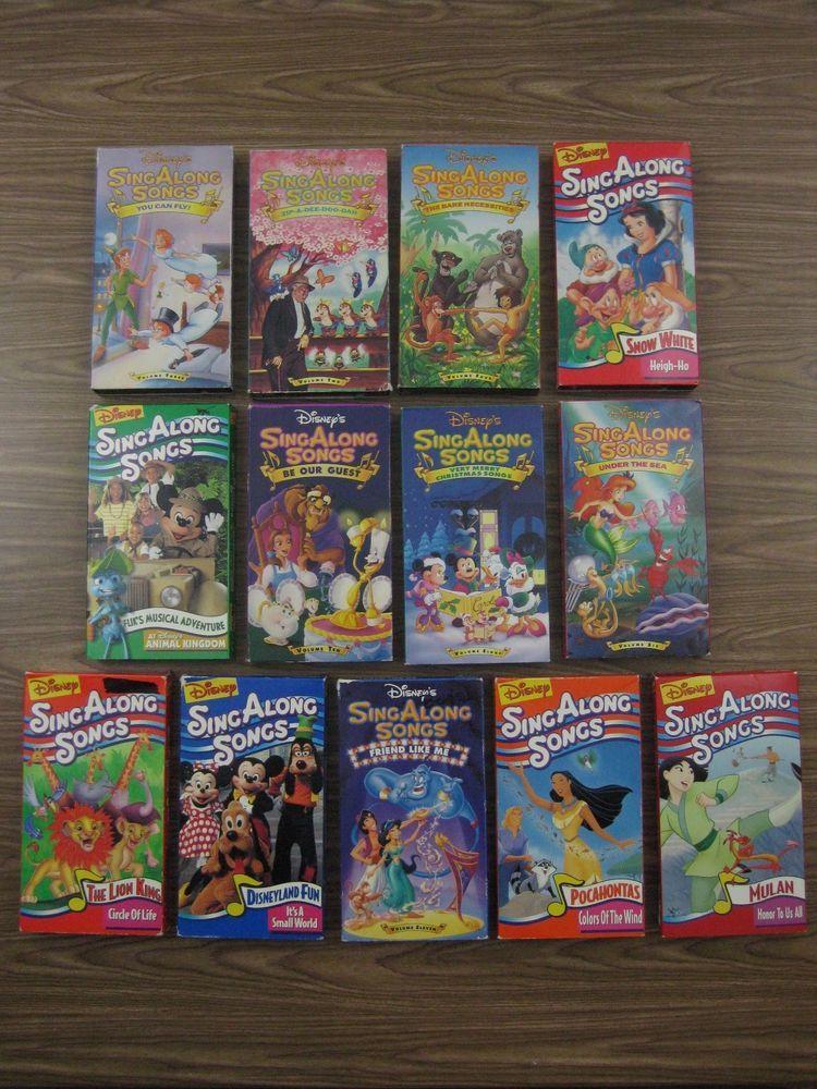 Lot Of 13 Vhs Disney S Singalong Songs Snow White Lion King Christmas Disneyland Disney Singalong Sing Along Songs Disneyland