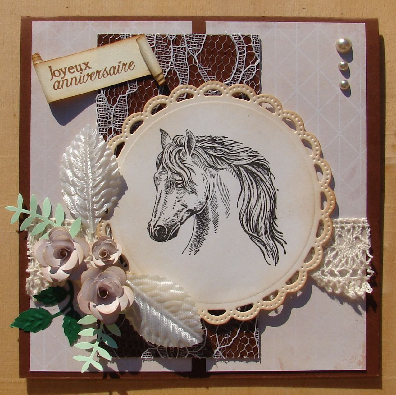 carte anniversaire cheval scrapbooking