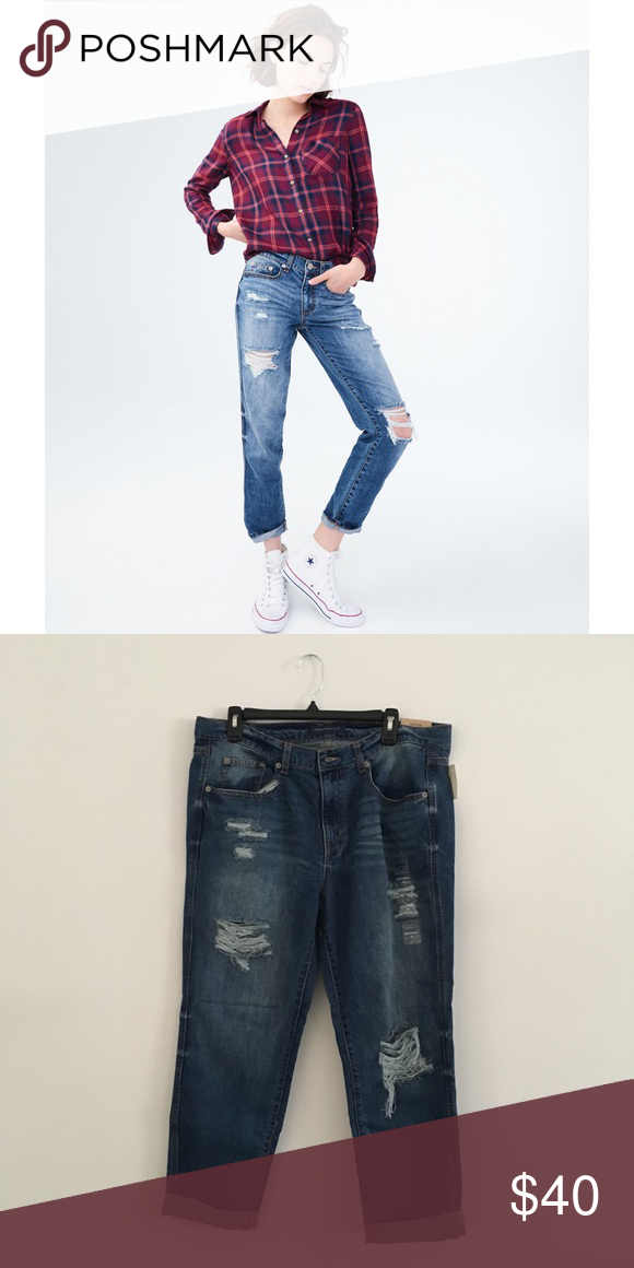 886dc191071 Aeropostale Low Rise Distressed Boyfriend Jeans New with tags Sz 14 84%  cotton, 16