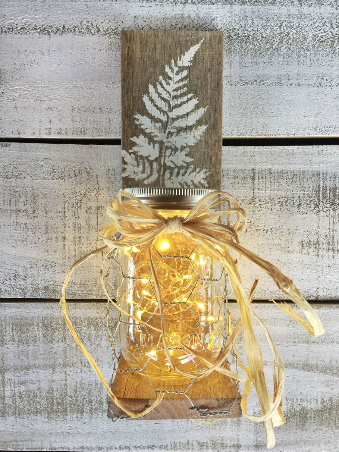 Pair of Rustic Mason Jar Wall Sconces on Reclaimed Pallet Wood and ...