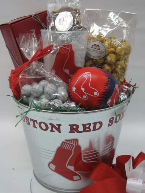Boston Red Sox Bucket Go Sox You Ll Hit A Home Run When You Give Someone Our One Of Kind Red So Chocolate Gifts Basket Valentines Day Chocolates Turtle Gifts