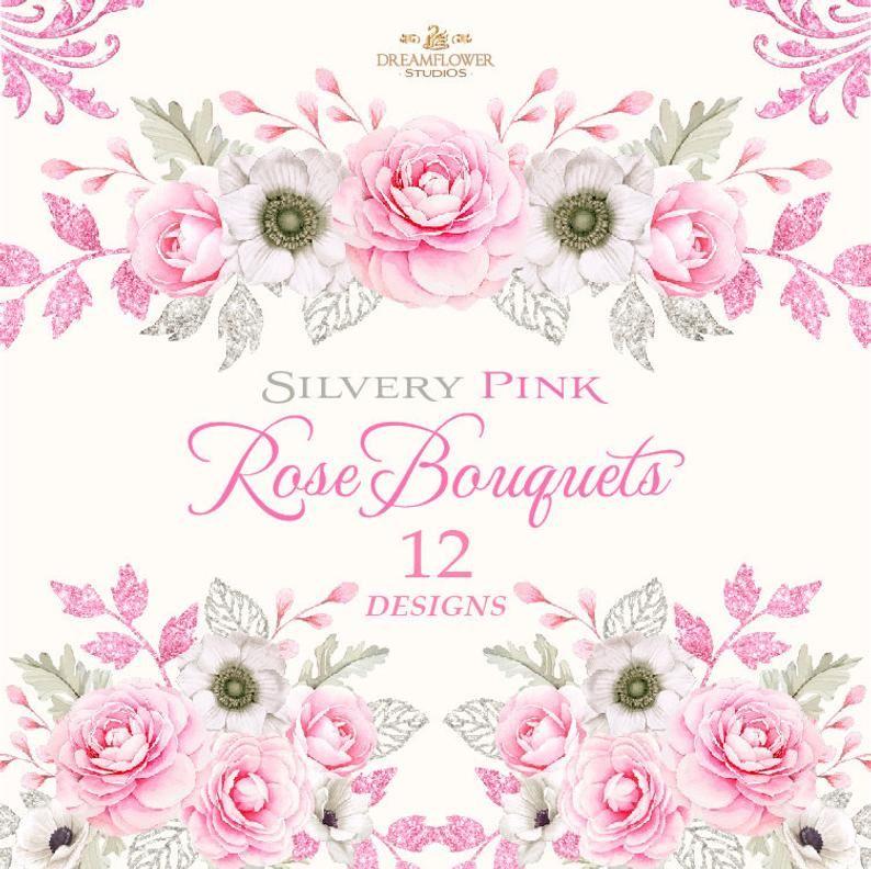 Png Floral Elements Vintage Flowers Pink Watercolor Flowers Clipart Digital Flowers Clipart Peonies Clipart Pink And Silver Watercolor