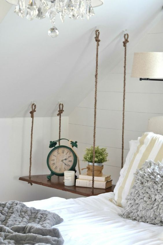 Build a hanging bedside table yourself -  Build your own bedside table for the sloping roof  - #Bedside #Build #decoratingideasforthehome #diykitchenideas #diykitchenprojects #hanging #homediycrafts #table