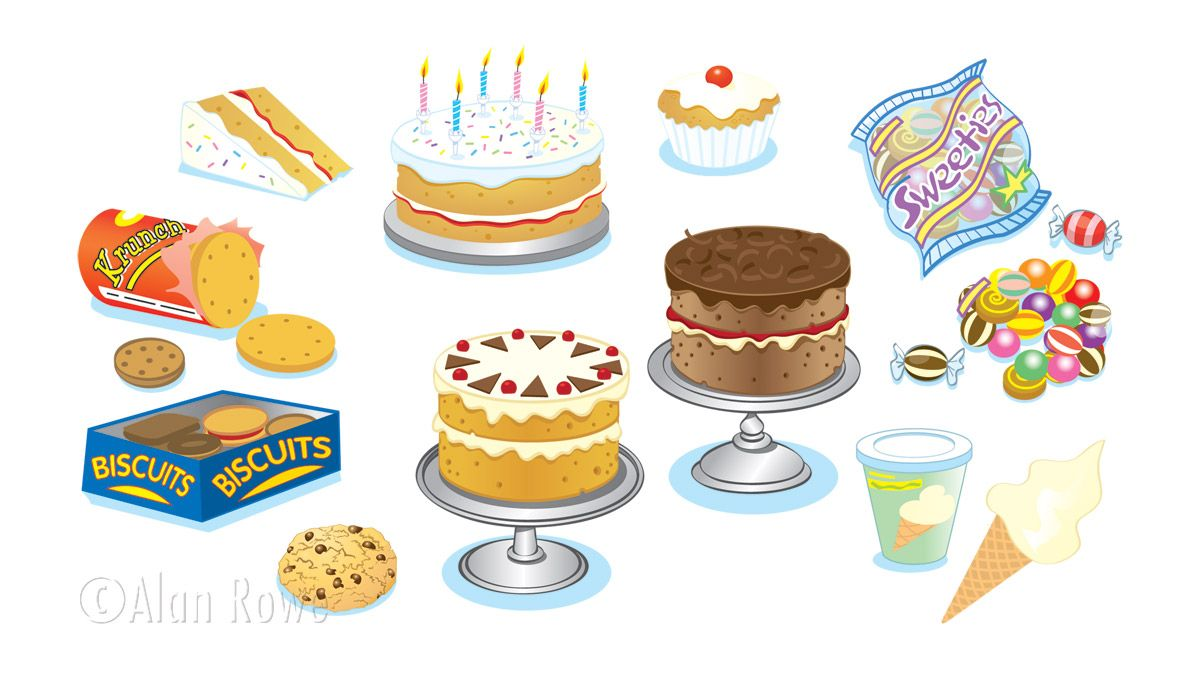 Cartoon Jelly Cake Recipe: Cakes, Biscuits And Sweets Illustrations
