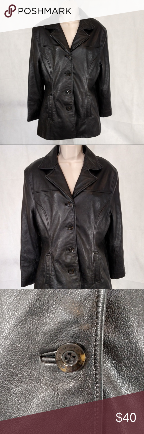 WILSONS LEATHER Jacket Women Size L Black Lined Wilsons