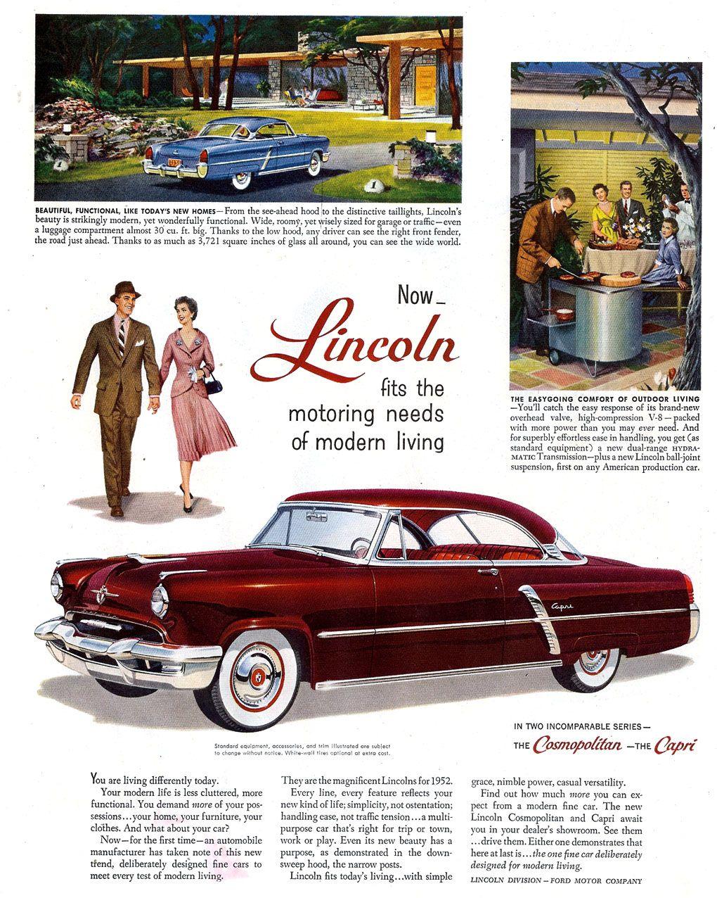 1952 Lincoln Capri | Lincoln....car brochures | Pinterest | Capri ...