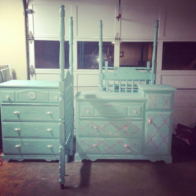 DIY refurbish furniture baby furniture turquoise chalk paint