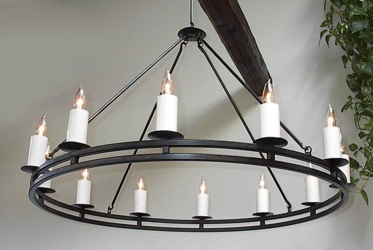 Ace Wrought Iron Custom Double Ring Chandeliers Hand Forged By