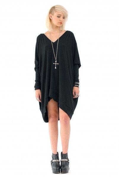 Babooshka Black Long Sleeve Asymmetrical Oversized T Shirt Dress Xs
