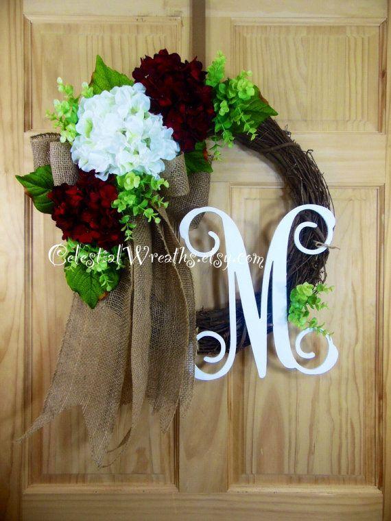 spring wreath  hydrangea wreath  monogram by Celestialwreaths