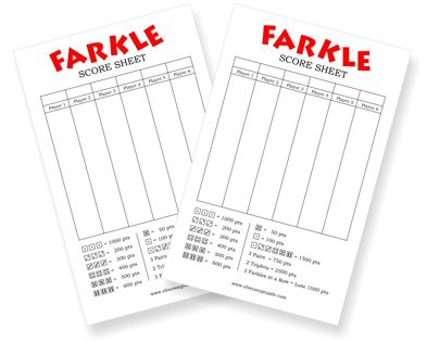 Farkle Score Sheet  Printable Farkle Scoring Cards  Bunco