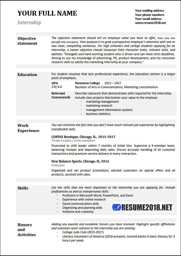 2018 Examples Internship resume, Resume templates, Cover