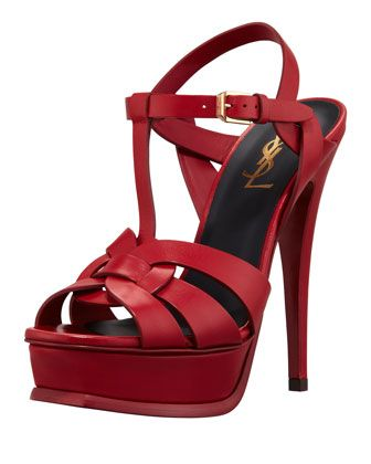 65578f5c50e Tribute+High-Heel+Leather+Sandal,+Red+by+Saint+Laurent+at+Neiman+Marcus.