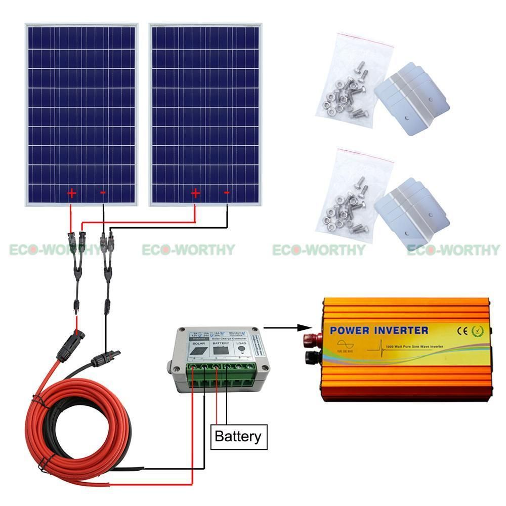 200w 300w 400w Off Grid Kit 100w Solar Panel With 1kw Pure Sine Inverter System Construccion Sustentable Energia Alternativa Construccion