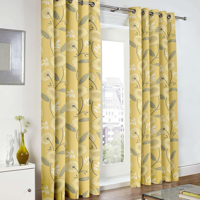 Elements floral stylish ochre yellow emmott eyelet curtains