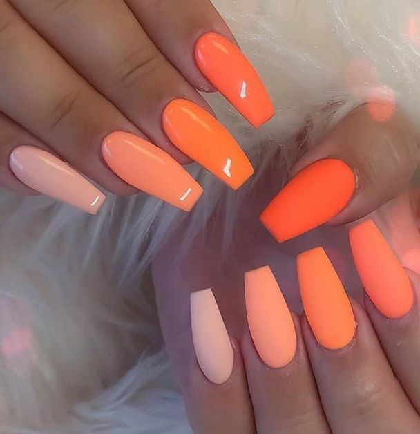 Neon Orange Nail Art Design Practical Life