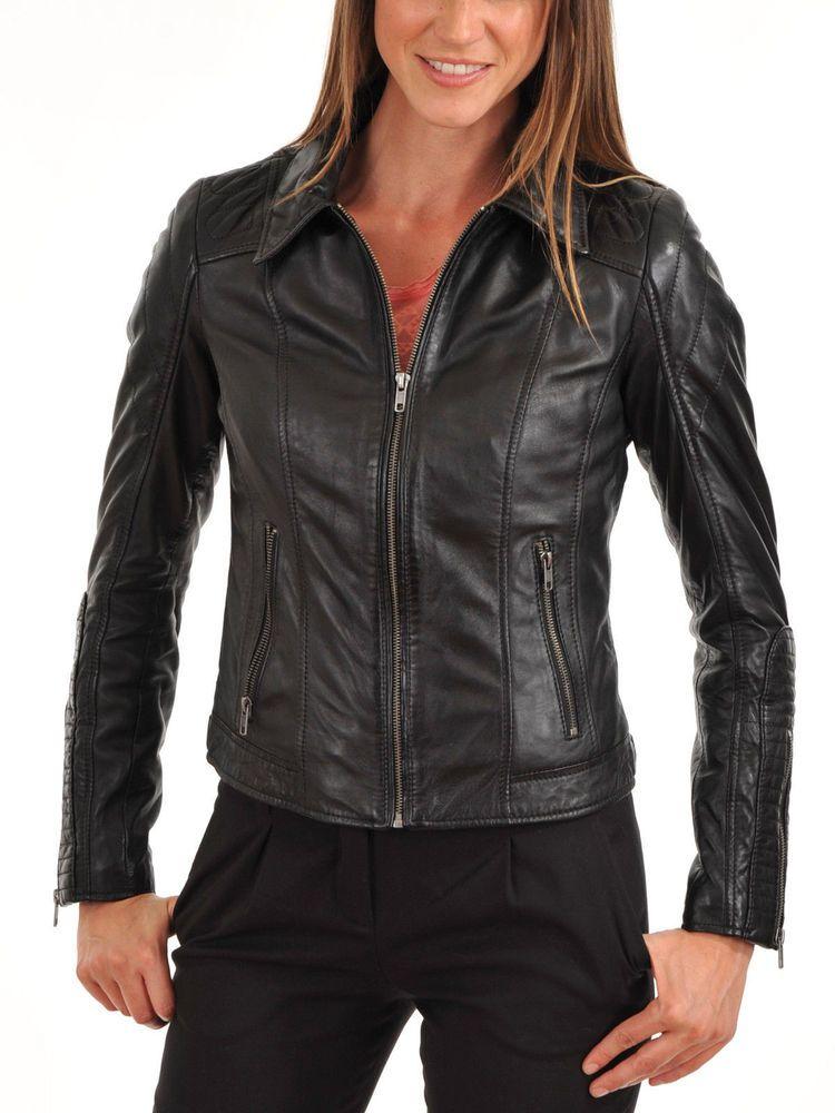 Women Stylish slim fit front zip Lambskin Bomber Biker leather jacket WJ363 #Handmade #BasicJacket