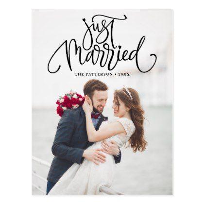 Black Just Married Lettering Photo Wedding Postcard