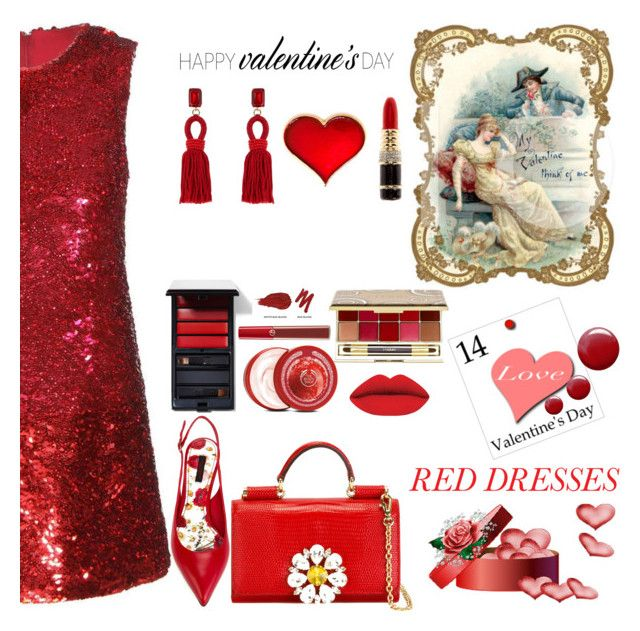 """""""Red Dresses"""" by nicolevalents ❤ liked on Polyvore featuring Dolce&Gabbana, Yves Saint Laurent, Kenneth Jay Lane, Oscar de la Renta, The Body Shop, Topshop, Serge Lutens, By Terry, Giorgio Armani and Urban Decay"""