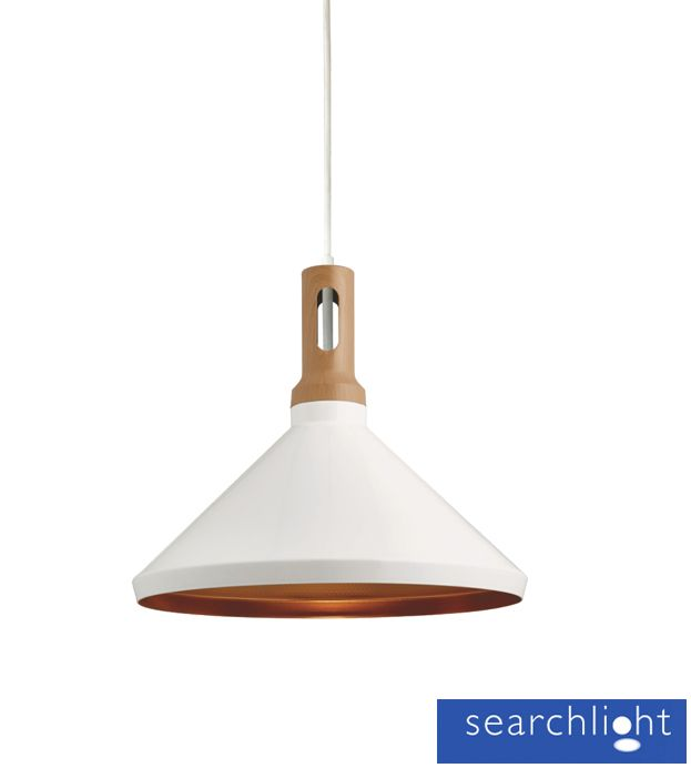 Searchlight Cone 1 Light Ceiling Pendant White With Gold Inner