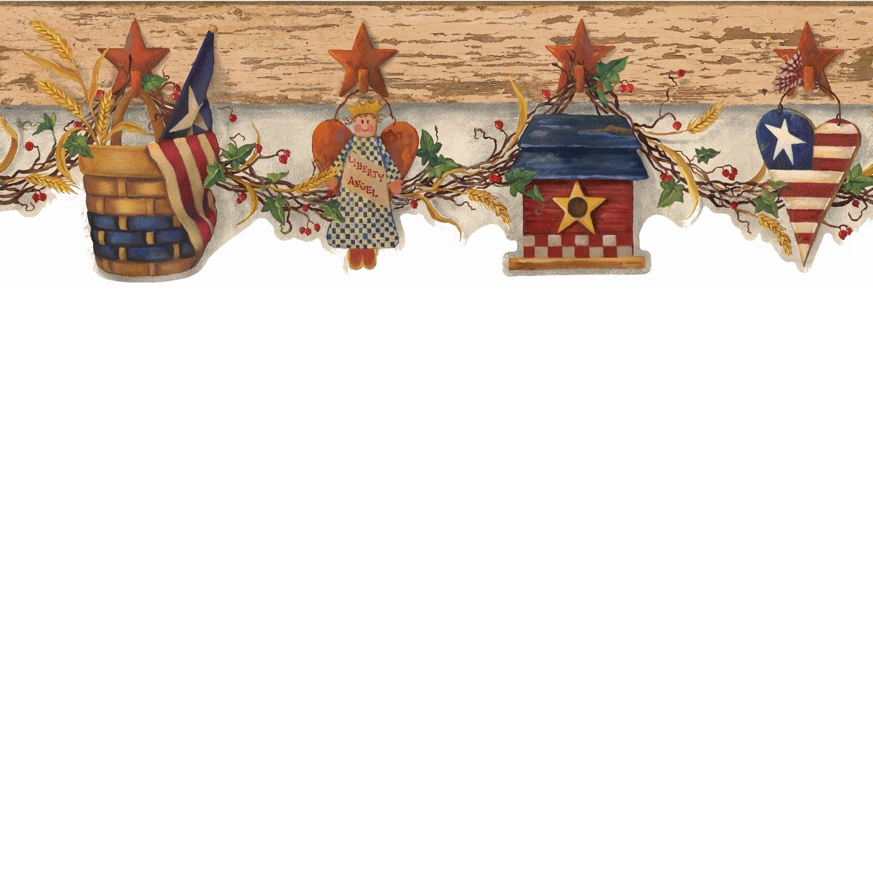 Pattern Number Aai08122b Book Name Angels And Ivy Ii Page Number 306 Border Name Patriotic Swag Washable Pre Discount Wallpaper Wallpaper Border Pattern