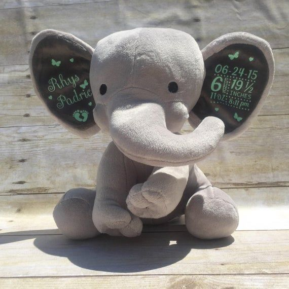 Birth Stat Elephant - Keepsake Elephant - Birth Announcement Elephant - Personalized Elephant- Newbo #elephantitems