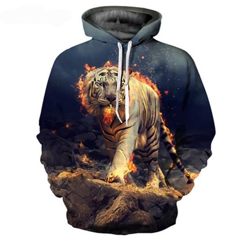 3D Unisex Tiger on Fire Hoodie   Products   Pinterest f62fb1cb1de