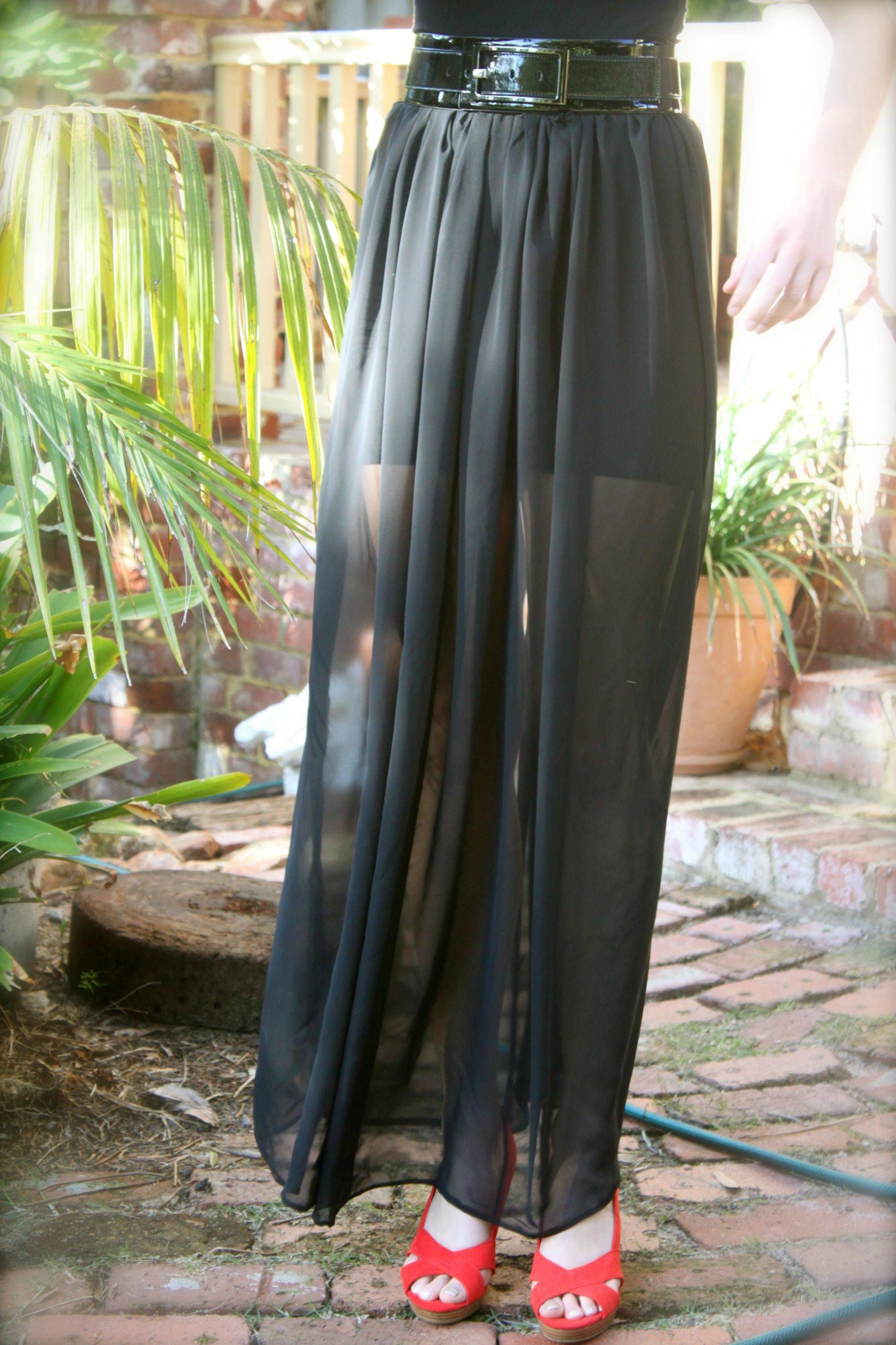 9fb7162bcd DIY Sheer Maxi Skirt, chiffon can be very slippery to sew, so make sure you  know what you are doing before you jump into this!