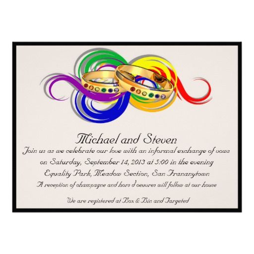Custom Gay Wedding Invitations, Non-Formal Card Gay, Formal and - invitation non formal