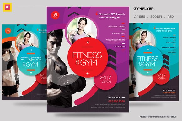 Fitness Flyer \/ Gym Flyer V13 by Satgur Design Studio on - Gym Brochure Templates