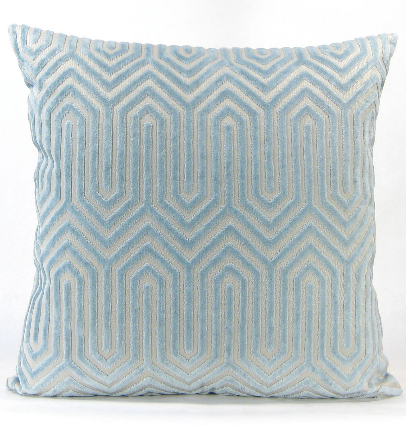 Porcelain blue velvet euro sham light blue eileen k for Designer accent pillows