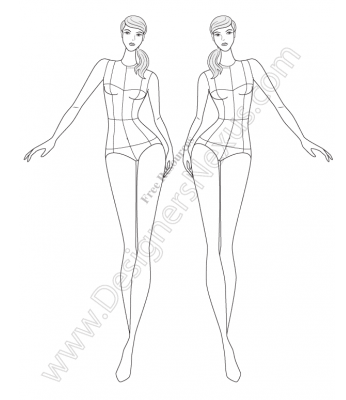 Free downloads of fashion croquis technical flat sketches front view walking fashion figure template many fashion templates to choose from on this site pronofoot35fo Choice Image