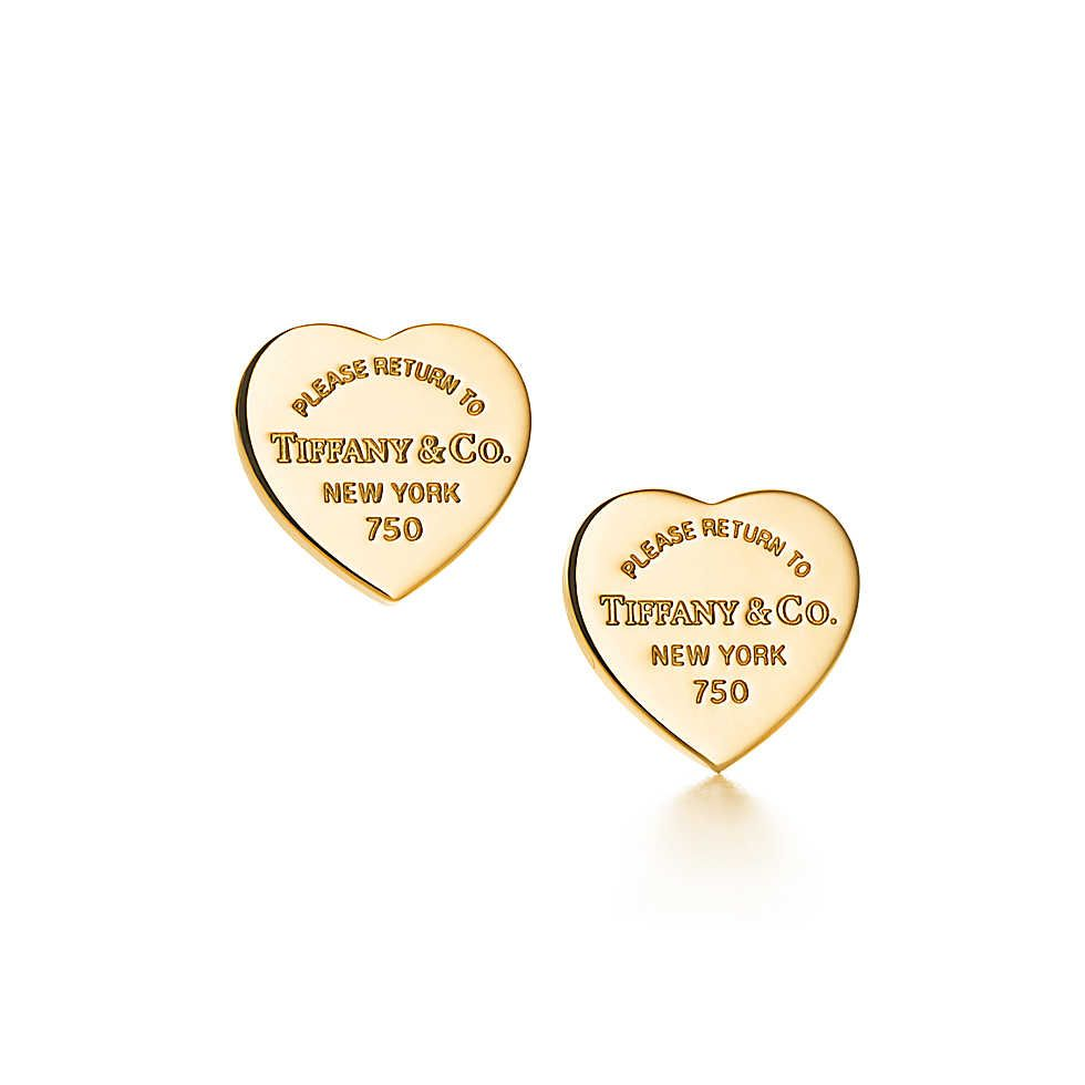 Return To Tiffany Mini Heart Tag Earrings In 18k Gold Slightly Obsessed With Stud