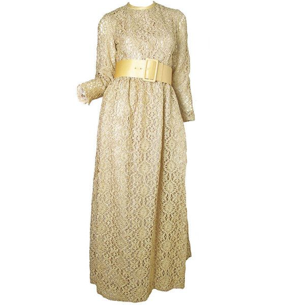 Preowned 1960s Claudia By George Halley Gold Metallic Lace Gown ...